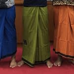 indian Plain Color lungi With Flower Designs in Middle of Sarong